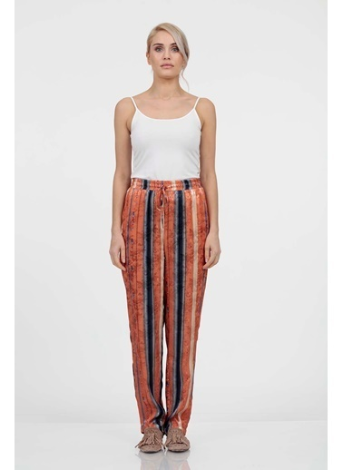 Vitrin Renkli Desenli Beli Lastikli Pantolon Oranj